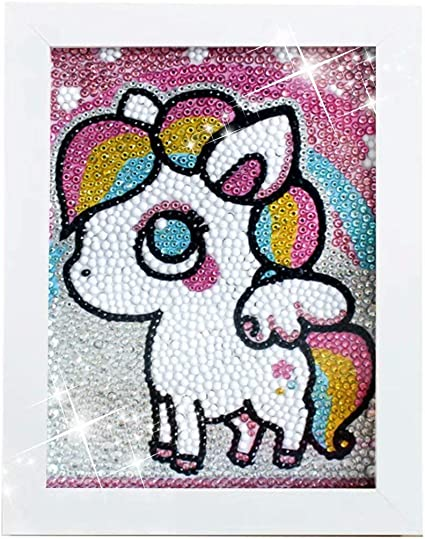 Maydear Small and Easy DIY 5d Diamond Painting Kits with Frame for Beginner with White Frame for Kids Unicorn