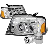 Ford F150 11th Gen Chrome Housing Amber Corner Dual Halo Projector LED Headlight + H1 LED Conversion Kit W/ Fan