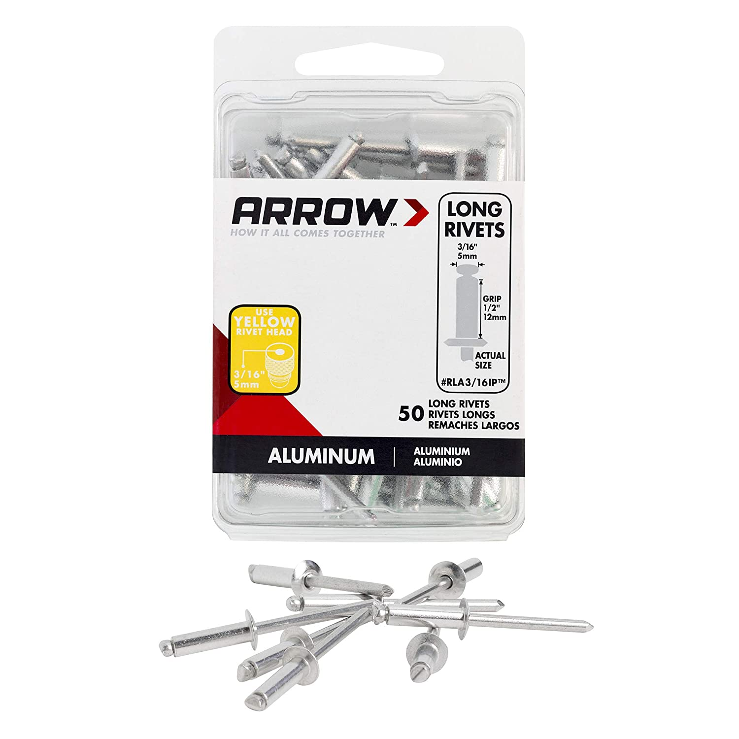 Arrow Fastener RSA3//16IP 3//16 Short Aluminum Rivets 50 Count