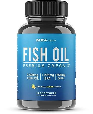 Fish Oil Omega 3 with 864mg DHA + 1,296mg EPA at Max Potency 3,600mg Omega  3 Fish Oil for