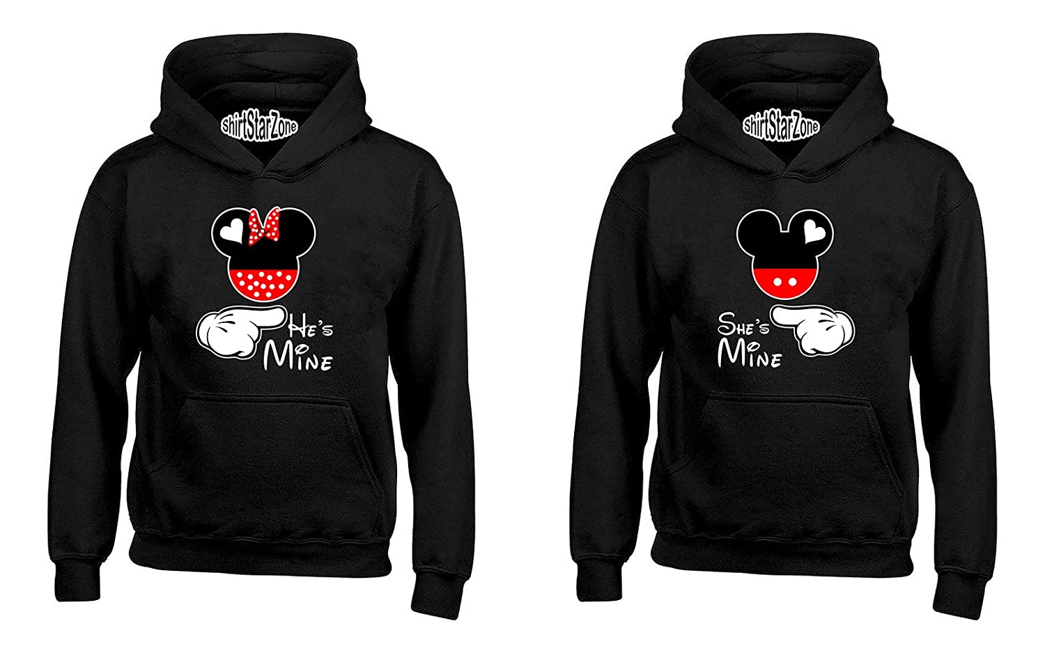 Cartoon Character Writing /& Hands Hes Mine Shes Mine Matching Couples Hoodies