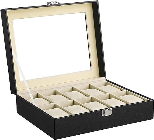 SONGMICS Caja de Relojes con 10 Compartimientos, Estuche de Madera ...