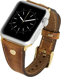 Venito Sessa Premium Slim Leather Watch Band w/Gold Stud Compatible with the Newest Apple Watch iwatch Series 6 as well as Series 1,2,3,4,5 (Antique Brown w/Gold Stainless Steel Hardware, 42mm-44mm)