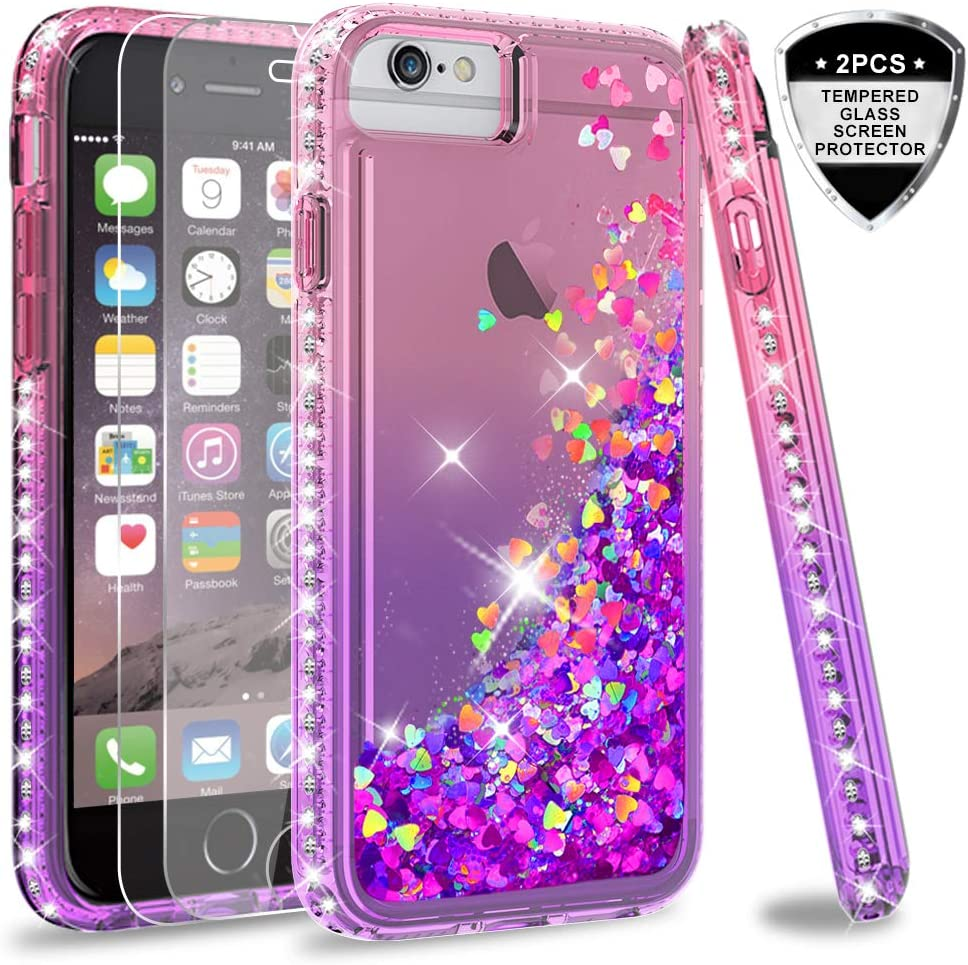 LeYi Compatible for iPhone 8 Plus Case, iPhone 7 Plus Case, iPhone 6 Plus Case with Tempered Glass Screen Protector [2Pack] for Girls Women, Glitter Clear Phone Case for iPhone 6s Plus, Pink/Purple