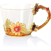 COAWG Glass Tea Cup, Lead Free Handmade Enamel Flower Clear Glass Coffee Mug with Handle, Unique Personalized Birthday Gift Ideas for Women Grandma Mom Female Friend Teachers