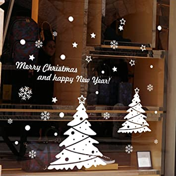 Xmas shop window sticker merry christmas glass wall window decoration with snowman removeable home decorative art