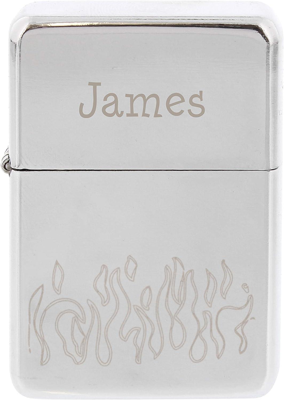 Personalizado grabado plata – Mechero, diseño de llamas – Ideal Navidad/regalo de cumpleaños: Amazon.es: Hogar