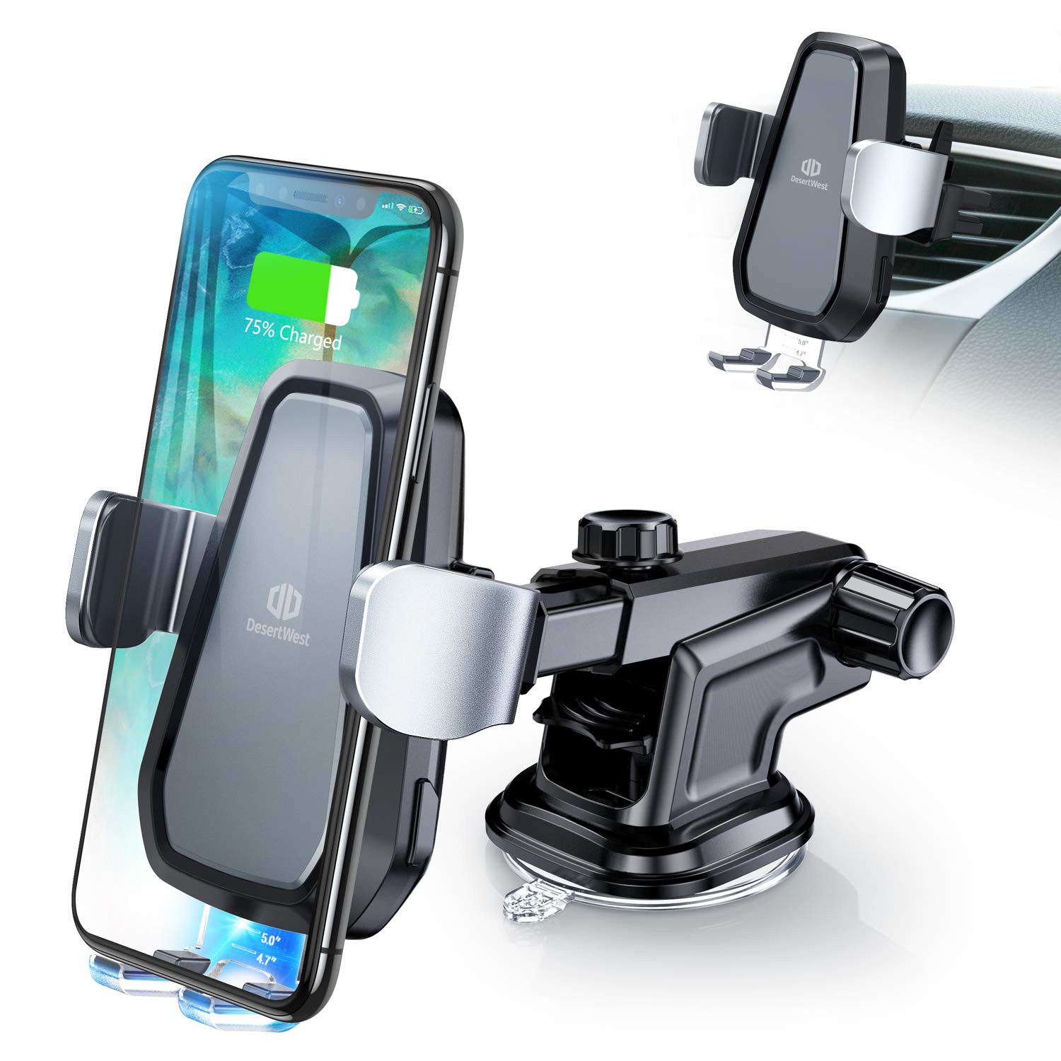 DesertWest Wireless Car Charger Mount Automatic Clamping 10W Wireless Car Charger Compatible with Samsung Galaxy S10/S10+/S10e/S9/S9+/S8/S8+, iPhone Xs/XS Max/X