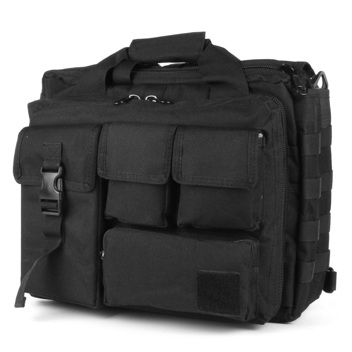 GES Multifunction Mens Outdoor Tactical Nylon Shoulder Laptop Messenger Bag Briefcase Handbags Large Enough for 15.6'' Laptop/Camera (Black)