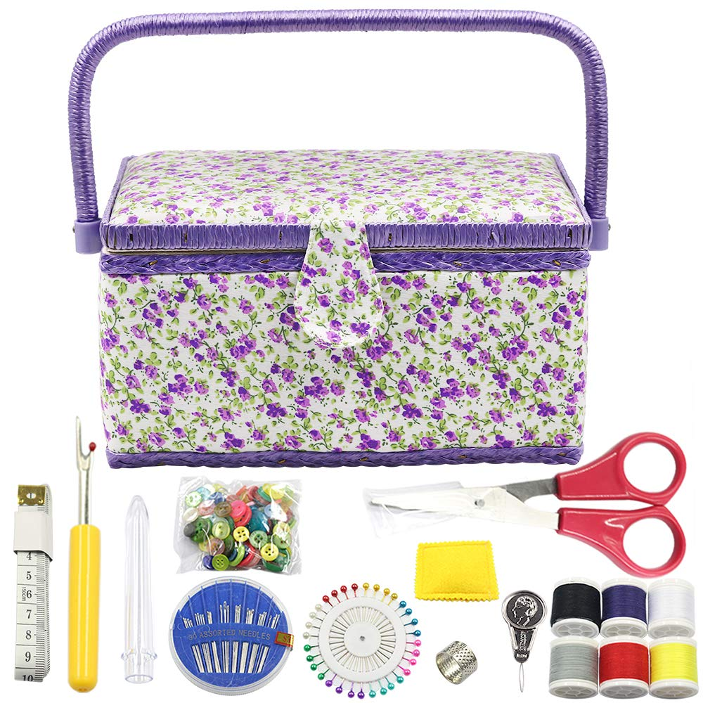 Flrhsjx Medium Sewing Basket with Accessories Sewing Organizer Box with Supplies,DIY Sewing Kits for Adults and Kids,Floral Print Purple