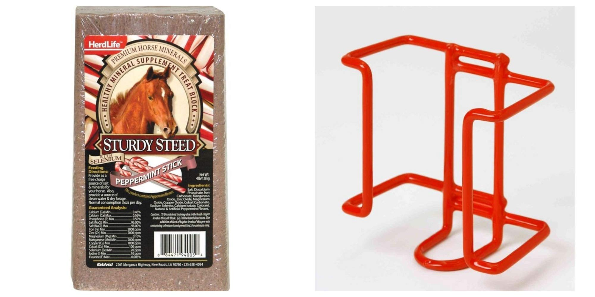 Herdlife Sturdy Steed Horse Mineral Salt Block with Selenium, Peppermint Flavor, 4 Lbs. + Little Giant 4-Pound Wire Salt Block Holder by Herdlife
