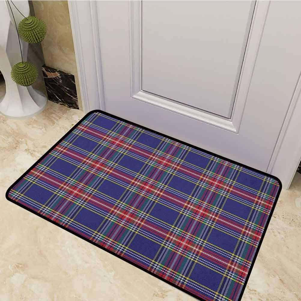 DESPKON Floor Mat Old Fashioned Scottish Tartan Country Style with Geometric Look Abstract Arrangement Front Back Door Mat for Entry, Garage, Patio, High Traffic Areas Multicolor 24 x 47 Inch