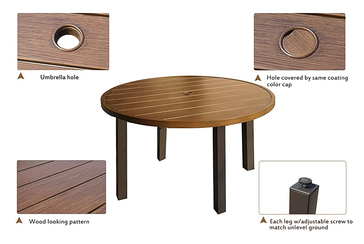 """Kozyard Belton 42"""" Round Wood Like Metal Dining Table Set with Umbrella Hole for Patio, Back Yard, Pool Side etc. (Table Only)"""