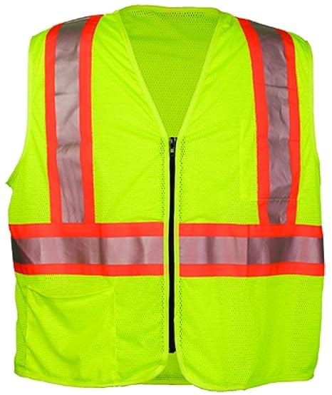 White Trim OK-1 291 Zipper Style Lime Vest X-Large
