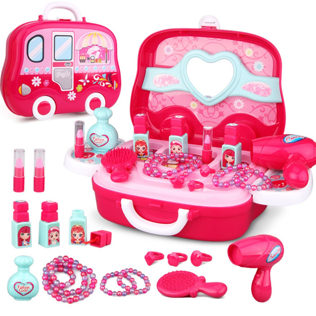 Pretend Makeup Kit, WOLFBUSH Cosmetic and Salon Beauty Playset with Carrying Box Dress Up Toy Vanities for Girls - Pink