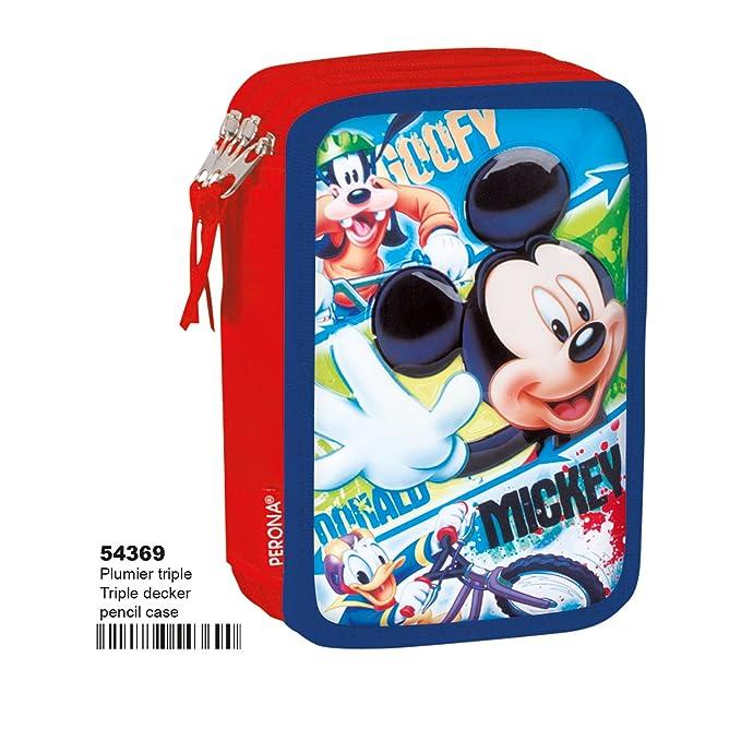 Perona 55387 Montichelvo Mickey Mouse Hands Estuche Plumier de Triple Compartimento 45 Piezas