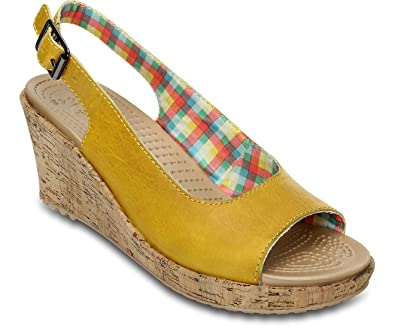 6a502d6c0 Crocs A-Leigh Mini Wedge Leather Clogs Women s Synthetic Material yellow  Size  9  Amazon.co.uk  Shoes   Bags