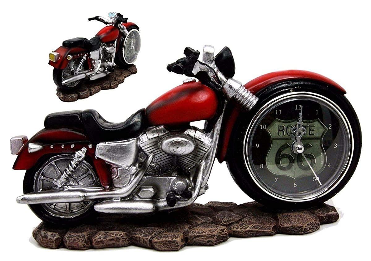 "Figurine 9.75"" Long Red Chopper Motorbike Motorcycle Analog Table Clock Decor"