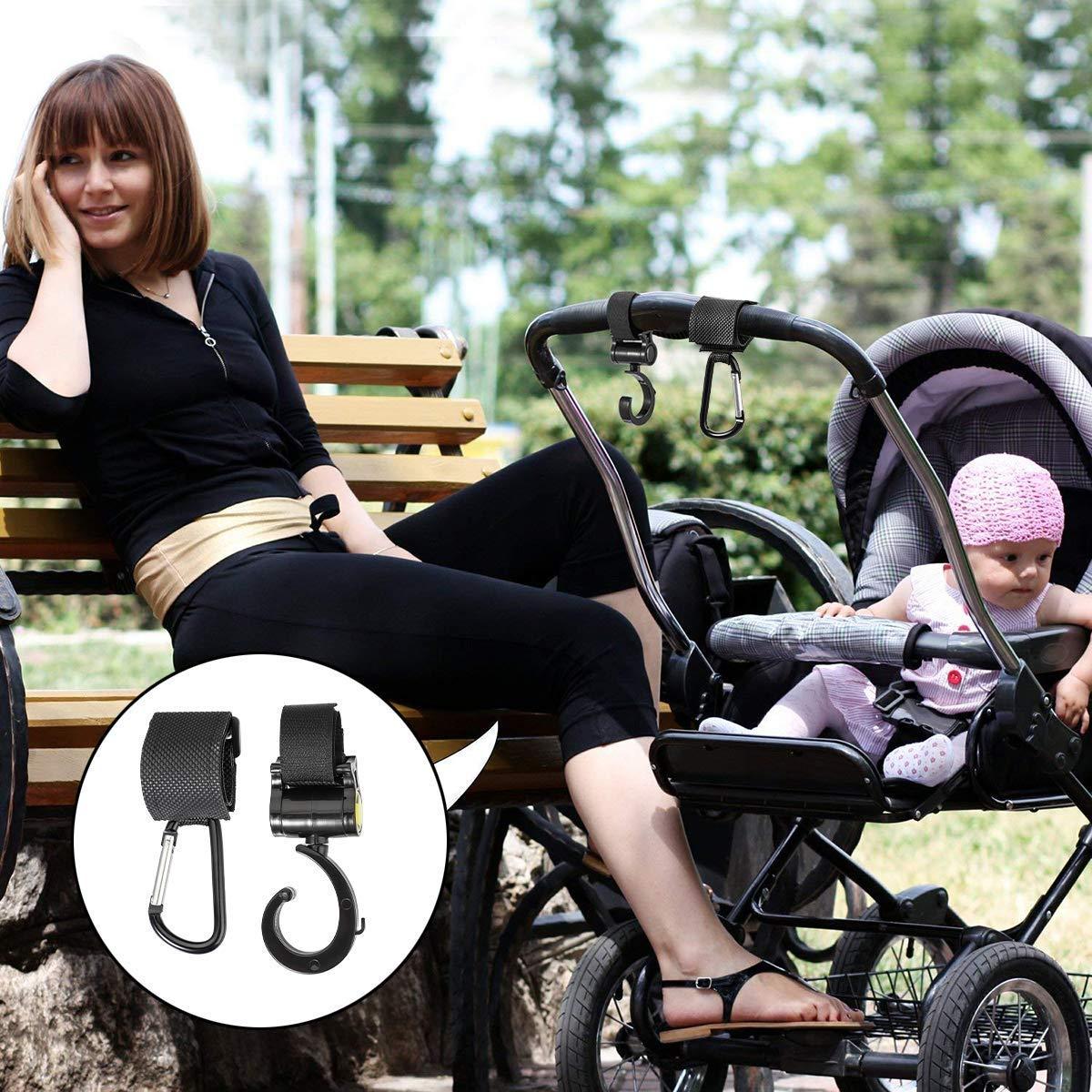 4 St/ückKinderwagen-haken buggy-haken Taschenhaken Befestigen Sie Ihre Einkaufst/üten Taschen sicher am Kinderwagen Universale Passform