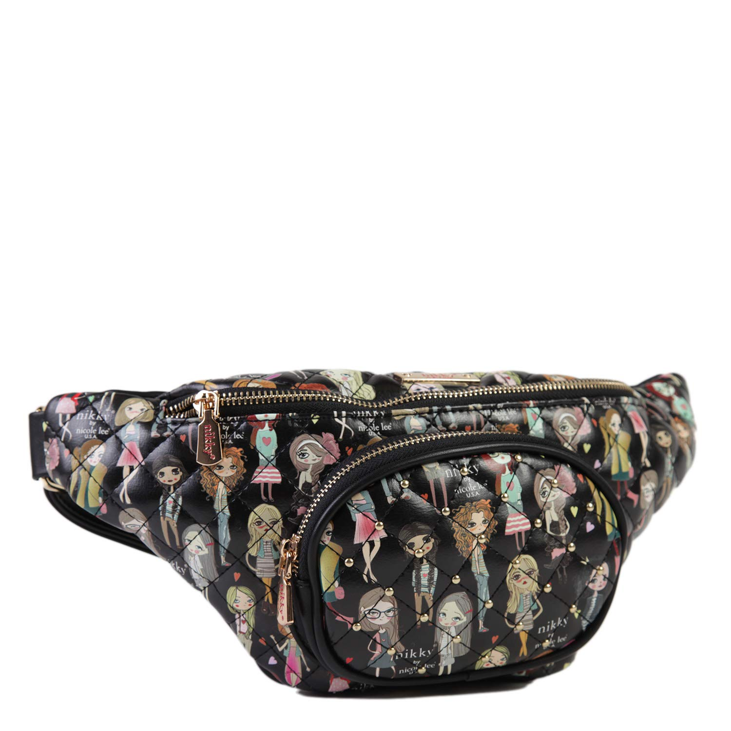 Spacious Compartment Nikky Womens Quilted Large Printed Black Fanny Pack One Size Adjustable Belt Girls
