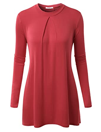 34af75ed886427 NINEXIS Womens Long Sleeve Elegant Mock Neck Pleated Drapey Tunic Top Coral  XL