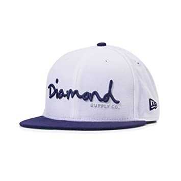 2d19ed44d56 Image Unavailable. Image not available for. Color  Diamond Supply Co OG  Script White Fitted Hat ...