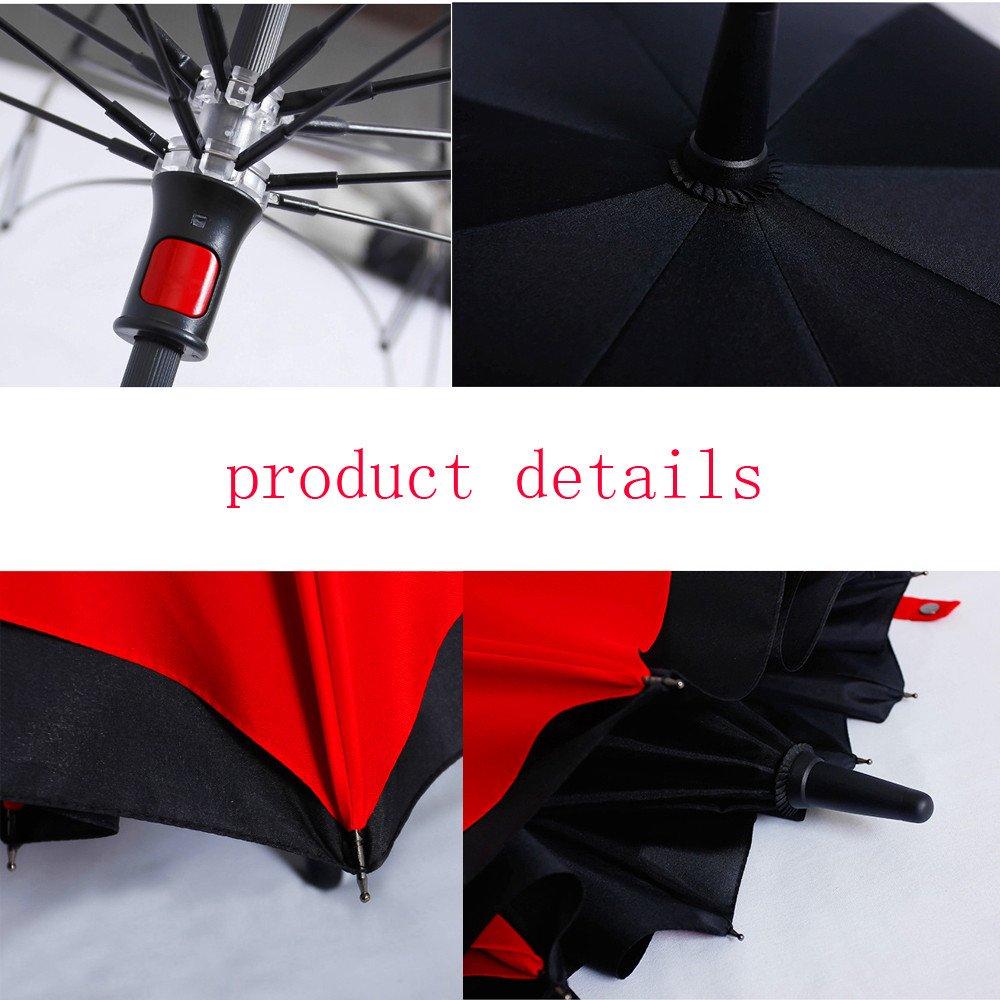 Zomtop innovador invertido paraguas de doble capa revés paraguas de la lluvia de agua recogidas Bumbershoot Ambiental (Negro + rojo): Amazon.es: Equipaje