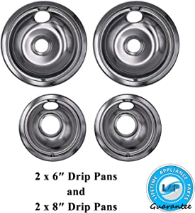 "Lifetime Appliance Ultra Durable W10196405, W10196406 Chrome Drip Pans Replacement for Whirlpool W10278125-2 x Small 6"" + 2 x Large 8"" Drip Pans"