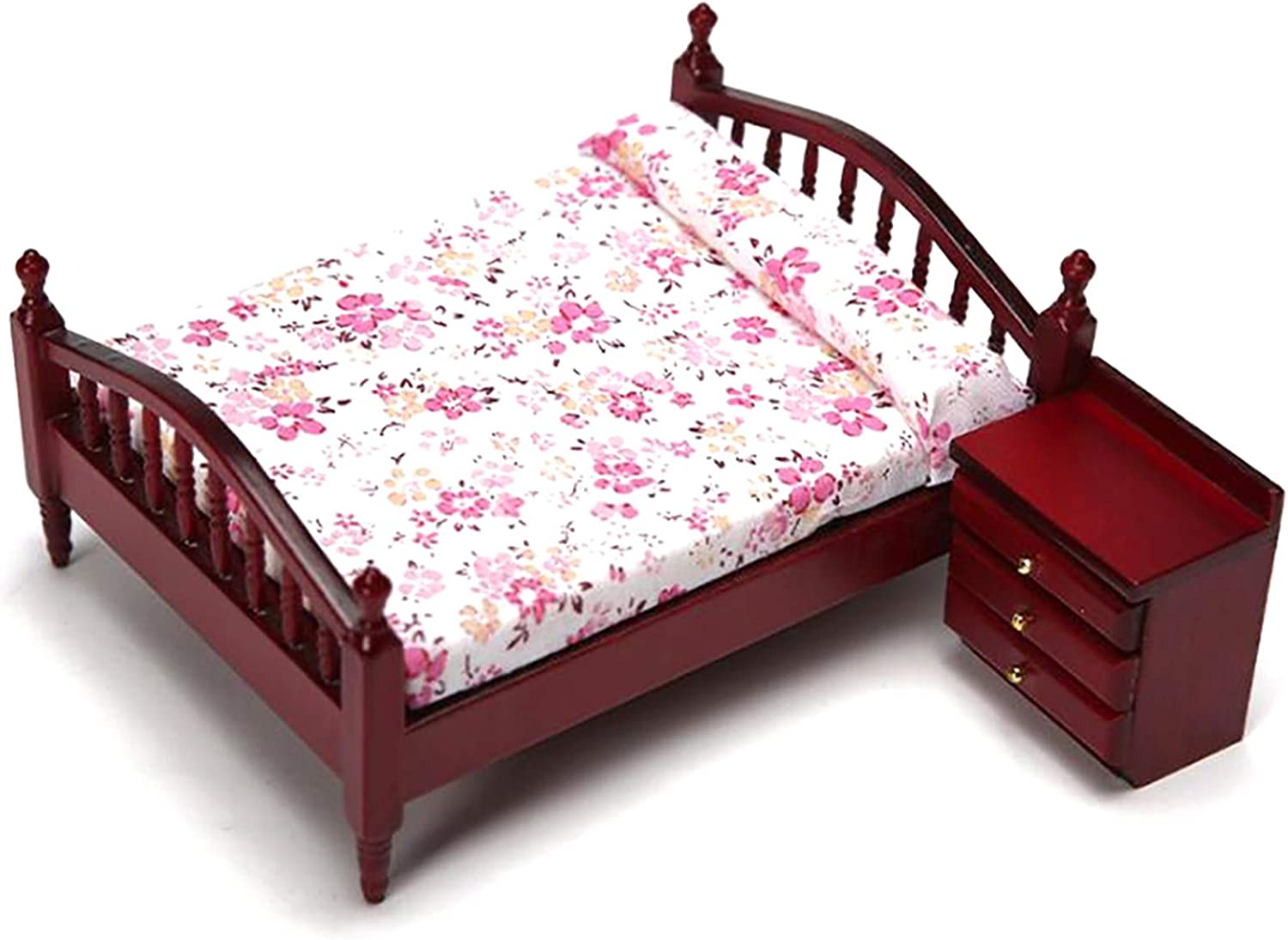 RUIYELE 1/12 Wooden Miniature Double Bed and Bedside Table, Mini Dollhouse Bedroom Miniature Furniture Model, Simulation Tiny Double Bed Kids Toy DIY Home Decoration Gifts (Style 1)