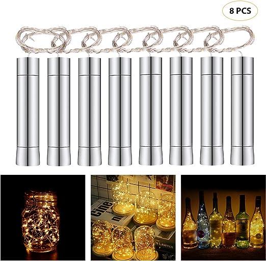 Herefun Cadena Led Luces para Botellas de Vino, 8 x 20 LEDs Guirnaldas Luminosas 2M Lámparas de Botellas Blanco Cálido, Tira de luz Tapa de Botella para Decoraciones de DIY Festivales Luces: