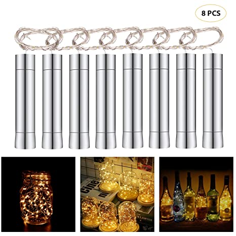 Cadena Led Luces para Botellas de Vino, 8 x 20 LEDs Guirnaldas Luminosas 2M Lámparas