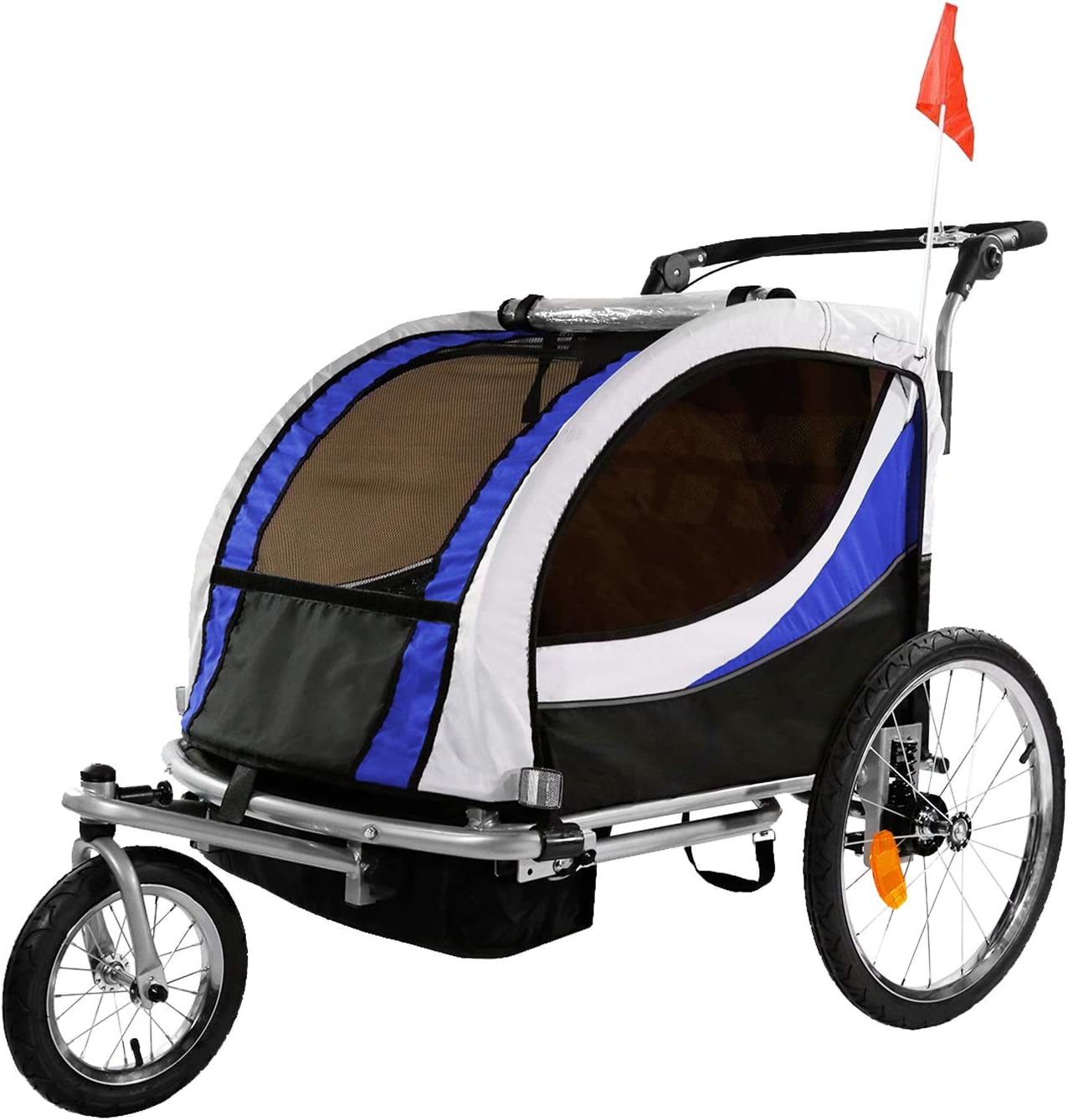 best bike trailer for kids: Clevr Deluxe 3-in-1 Double 2 Seat Bicycle Bike Trailer