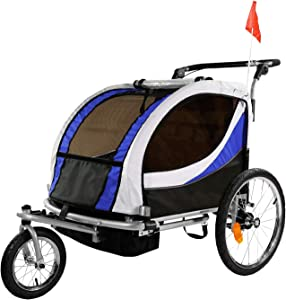 Clevr Deluxe 3-in-1 Double 2 Seat Bicycle Bike Trailer