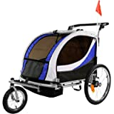 Clevr Deluxe 3-in-1 Double 2 Seat Bicycle Bike Trailer Jogger Stroller for Kids Children   Foldable Collapsible w/Pivot…