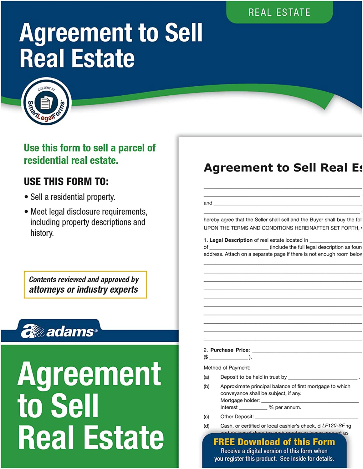 Adams Agreement To Sell Real Estate, Forms and Instructions (LF120)