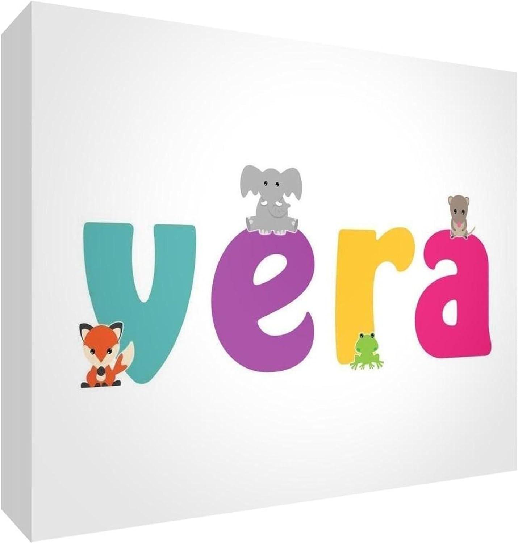 Little Helper LHV-VERA-A5BLK-15IT - Panel decorativo para nacimiento/bautizo, idea de regalo, diseño personalizado con nombre de niña real, multicolor, 14,8 x 21 x 2 cm