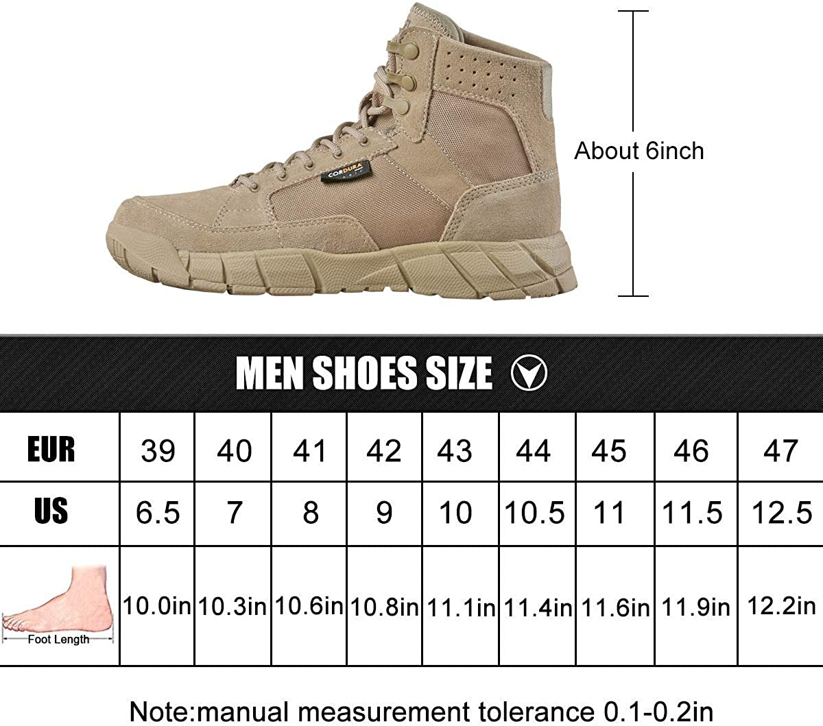 FREE SOLDIER Mens Boots Ultralight Military Tactical Work Boots 6 Inch high-tops Lace Up Breathable Desert Boots for Hiking Walking
