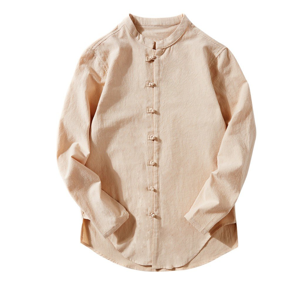 YpingLonk Camiseta Hombre Hebilla Color Sólido Vintage Camisa De Lino Algodón Manga Larga Sudadera Formal Oficina Trabajo Eventos Importantes T-Shirt: ...