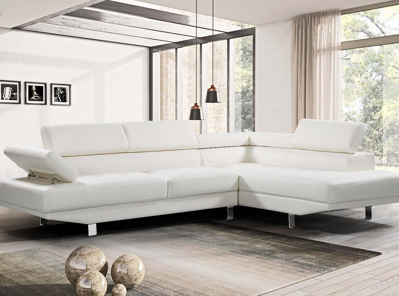 Amazon com harperbright designs 2 piece pu leather sectional sofa living room modern furniture adjustable armrests white kitchen dining