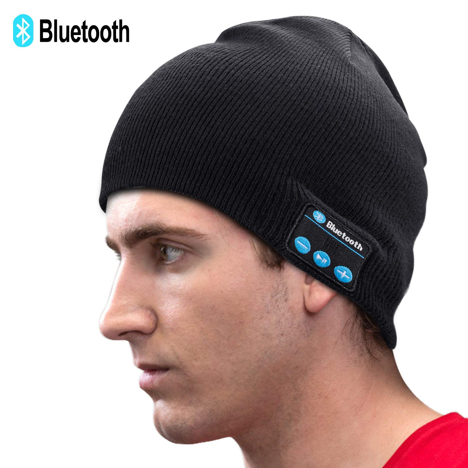 50c2c1882 Unisex Knit Bluetooth Beanie Winter Music Hat Black [Upgraded Newest V5.0]  Knit Running Cap with Stereo Speakers & Mic Unique Christmas Tech Gifts for  ...