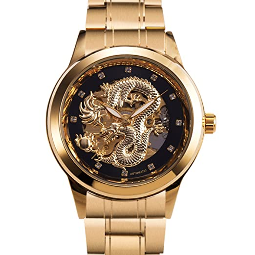 Mens Automatic Mechanical Wrist Watch - ManChDa Embossed Dragon Pattern Luminous Stainless Steel Band Analog Golden