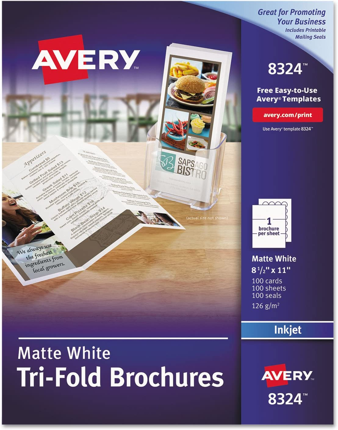 AVERY Tri-Fold Printable Brochure Paper, Inkjet Printers, 100 Brochures and Mailing Seals, 8.5 x 11 (8324), White
