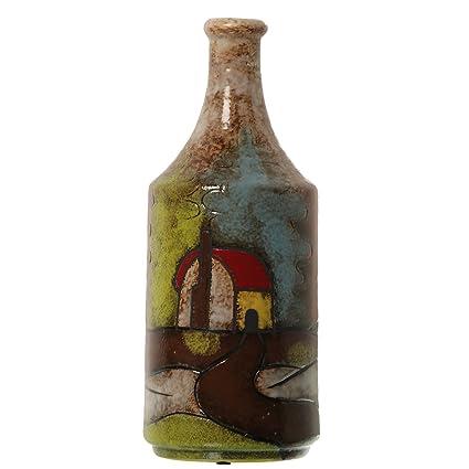 DRW - Jarrón de cerámica con Forma de Botella de cerámica Decorado con Casas ø15x38cm