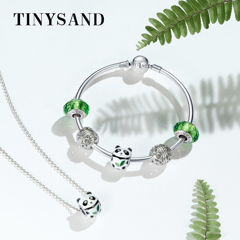 TINYSAND White and Black Enamel Panda Bead Charms for Europe Bracelet Qi419