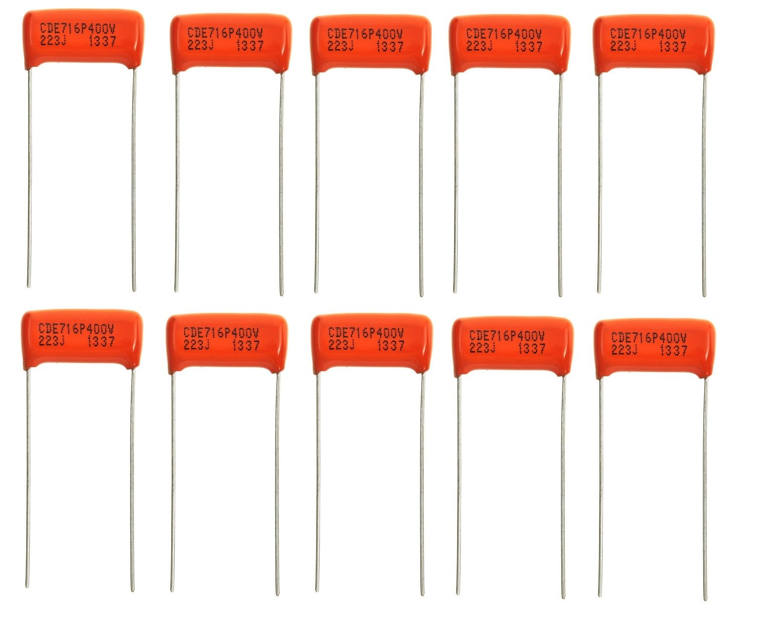 Bulk Lot of Ten (10X) .022uf/400v Orange Drop Capacitors - 716P - Gibson Les Paul