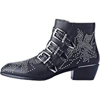 Comfity Boots for Women, Women's Leather Booties Rivets Studded Shoes Metal Buckle Low Heels Ankle Boots