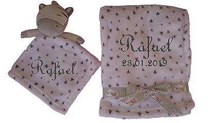 Juego de manta para bebé con diseño de cebra y nombre bordado + mantita