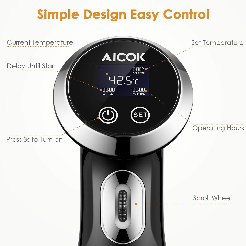 Acciaio Inossidabile//Argento IPX7 Impermeabile allacqua Calcolatrice di Immersione di Cucina con Touch Screen e Termostato Regolabile Aicok Cuoci Sottovuoto 1500 W con Display LCD