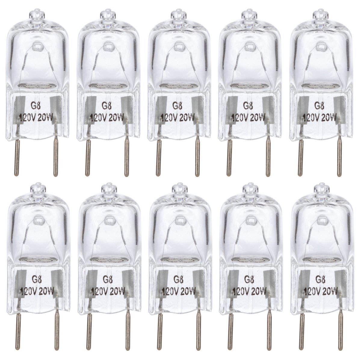 "[10 Pack] Simba Lighting™ 20 Watt 120 Volt Halogen Light Bulbs G8 Base Bi-Pin Shorter 1-3/8"" (1.38"") Length 120V 20W T4 JCD Lamp Soft White"