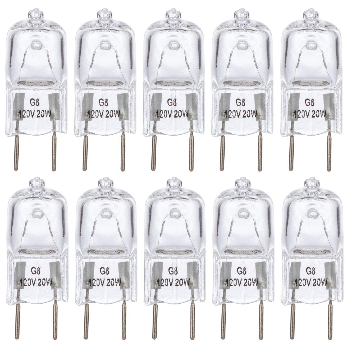 [10 Pack] Simba Lighting™ 20 Watt 120 Volt Halogen Light Bulbs G8 Base Bi-Pin Shorter 1-3/8'' (1.38'') Length 120V 20W T4 JCD Lamp Soft White